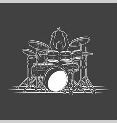 Drummer plays percussion instruments vector