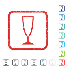 Empty wine glass icon rubber watermark vector