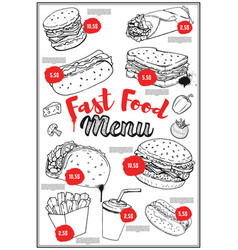 Fast food menu cover layout with hand drawn of vector