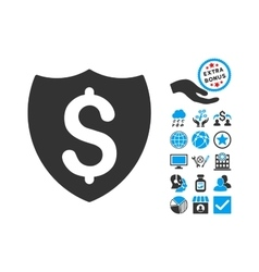 Financial Shield Flat Icon With Bonus vector image