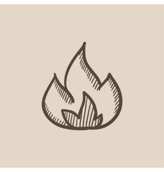 Fire sketch icon vector