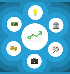 Flat icon finance set of growth cash bank and vector