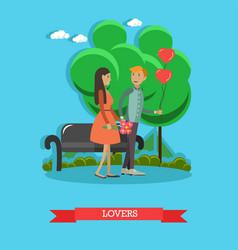 Flat of loving couple having vector