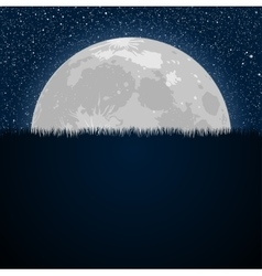 Full Moon Star Night Starry sky Grass vector