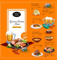 german cuisine restaurant lunch menu template vector image