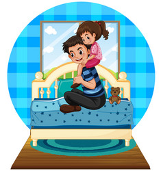 girl and father in bedroom vector image