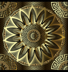 gold 3d floral greek seamless mandala pattern vector image