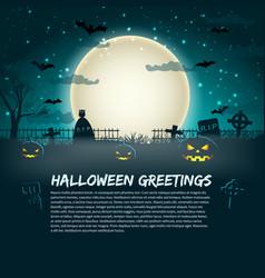 halloween greetings poster vector image