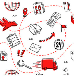 hand drawn seamless pattern for delivery service vector image