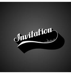 handwritten Invitation retro label vector image