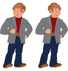 Happy cartoon man standing in gray jacket and vector