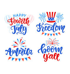happy fourth july hand written lettering set vector image