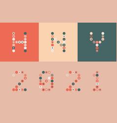 Happy new year 2021 circle pixel art typography vector