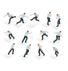 isometric set of businessman character design 3d vector image