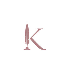 K letter mark feather pen signature quill logo vector