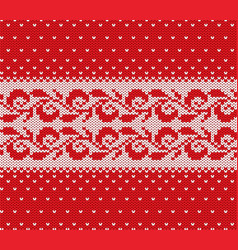 knitted christmas red and white floral seamless vector image
