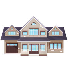 large yellow residential building house with vector image