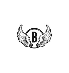 letter b and wing emblem logo vector image