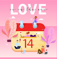 love is in the air the 14th of february and tiny vector image