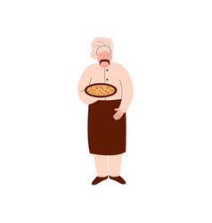male chef cook holding freshly prepared pizza on vector image