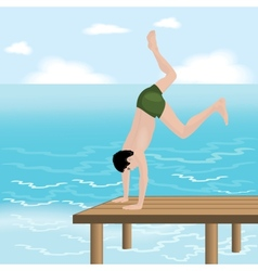 Man jumping in the sea vector image
