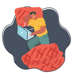 man using laptop in bed vector image
