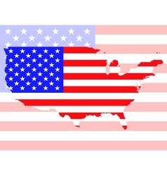 Map of United States of America with flag vector image
