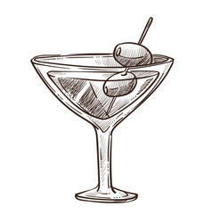Martini cocktail with olives on toothpick in glass vector