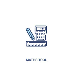 Maths tool concept 2 colored icon simple line vector