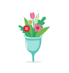 Menstrual cup with flowers eco sustainable vector