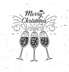 Merry christmas retro template with champagne vector