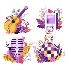 music playing and listening isolated icons vector image