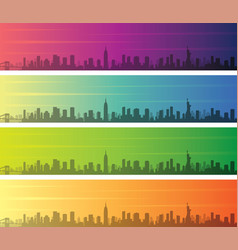 new york multiple color gradient skyline banner vector image