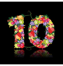 number ten made from fruits vector image