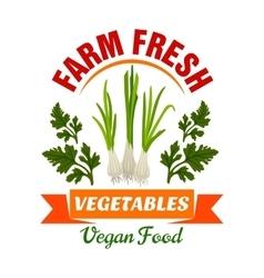 Onion leek Farm fresh vegan vegetable product vector image