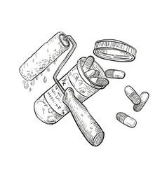 Paint roller medicine pill bottle drawing black vector