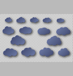 paper cut blue clouds collection 3d effect with vector image