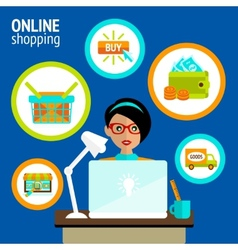 Person laptop online shopping concept vector image