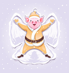 Pig in a gold suit of santa making a snow angel vector