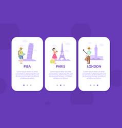 pisa paris london mobile app page onboard vector image