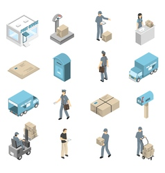 Post Office Service Isometric Icons Set vector image