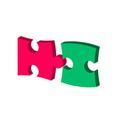 puzzle symbol flat isometric icon or logo 3d vector image