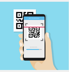 Qr code scanning with mobile phone vector