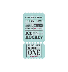 Retro ice-hockey ticket admit one on sport event vector