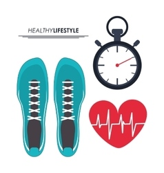 Running shoes heart and chronometer icon Fitness vector