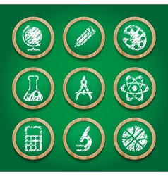 School icon set on chalkboard vector image