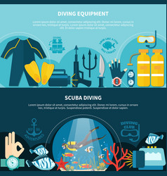 Scuba diving horizontal banners vector
