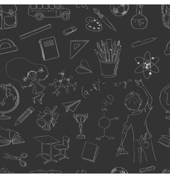 Seamless pattern school board freehand drawing vector