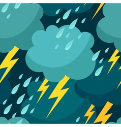 Seamless pattern with clouds raindrops and vector image
