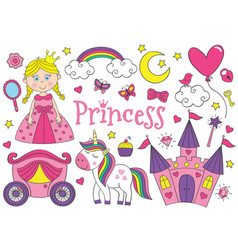 Set of isolated cute princess and design elements vector
